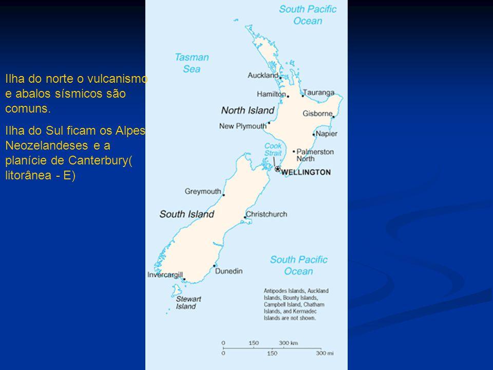 Ilha do norte o vulcanismo e abalos sísmicos são comuns. Ilha do Sul ficam os Alpes Neozelandeses e a planície de Canterbury( litorânea - E)