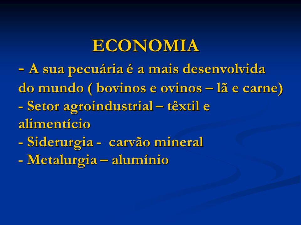 ECONOMIA - A sua pecuária é a mais desenvolvida do mundo ( bovinos e ovinos – lã e carne) - Setor agroindustrial – têxtil e alimentício - Siderurgia - carvão mineral - Metalurgia – alumínio ECONOMIA - A sua pecuária é a mais desenvolvida do mundo ( bovinos e ovinos – lã e carne) - Setor agroindustrial – têxtil e alimentício - Siderurgia - carvão mineral - Metalurgia – alumínio