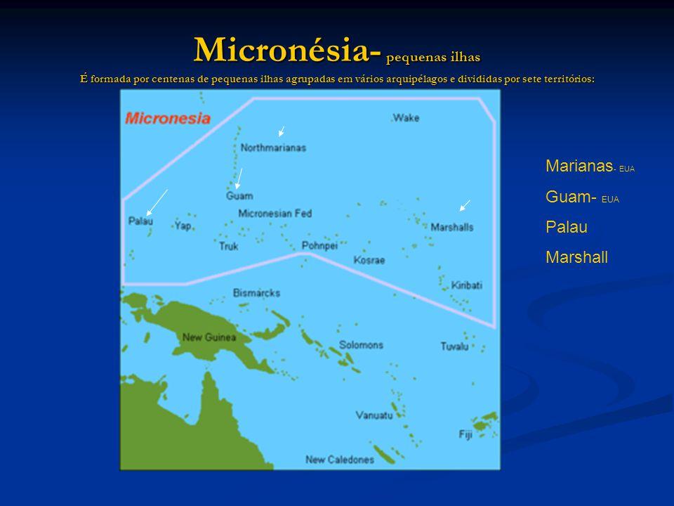 Micronésia- pequenas ilhas É formada por centenas de pequenas ilhas agrupadas em vários arquipélagos e divididas por sete territórios: Marianas - EUA Guam- EUA Palau Marshall
