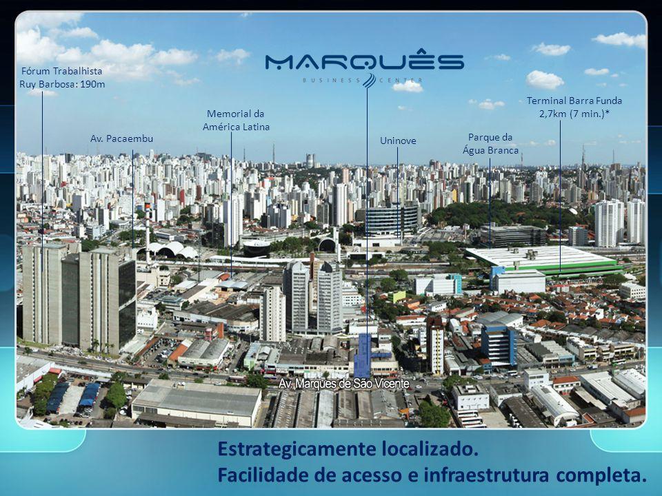 Terminal Barra Funda 2,7km (7 min.)* Parque da Água Branca Fórum Trabalhista Ruy Barbosa: 190m Memorial da América Latina Uninove Av.
