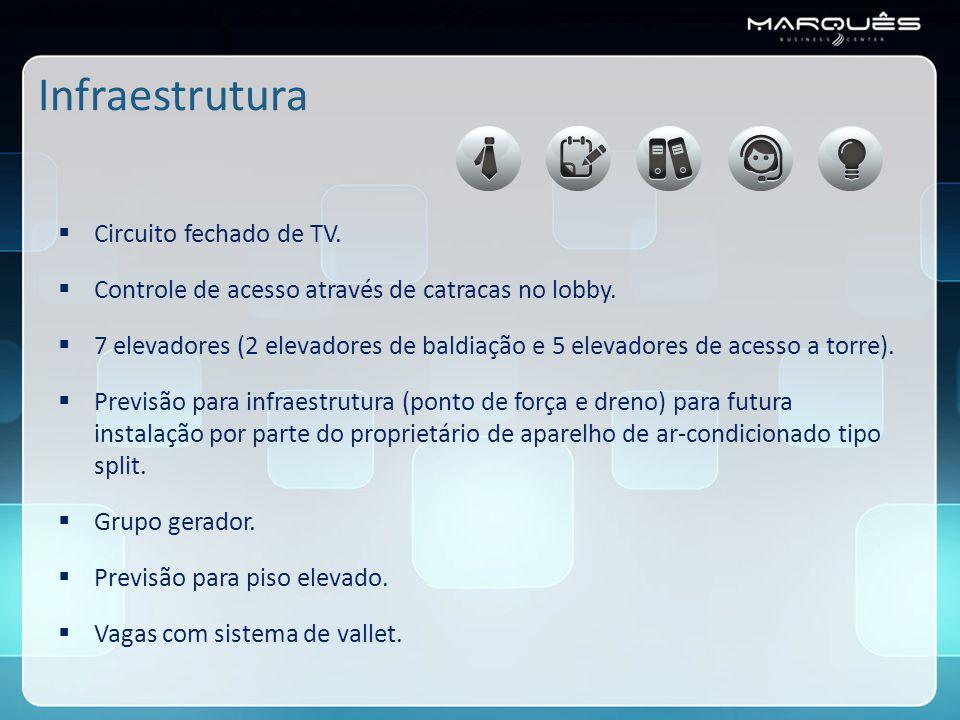 Infraestrutura  Circuito fechado de TV. Controle de acesso através de catracas no lobby.