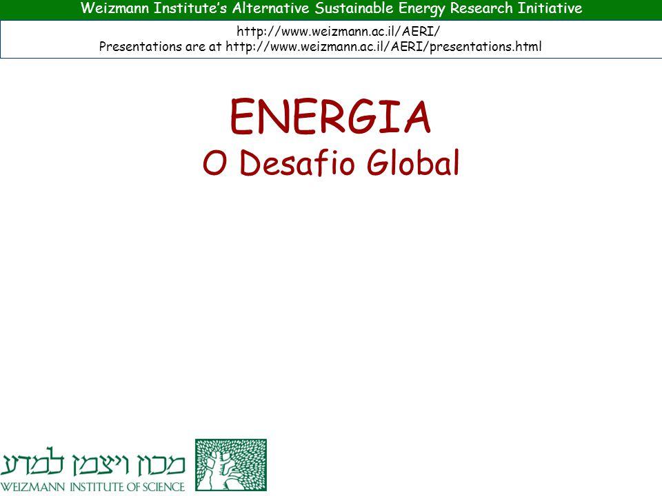 Weizmann Institute's Alternative Sustainable Energy Research Initiative http://www.weizmann.ac.il/AERI/ Presentations are at http://www.weizmann.ac.il