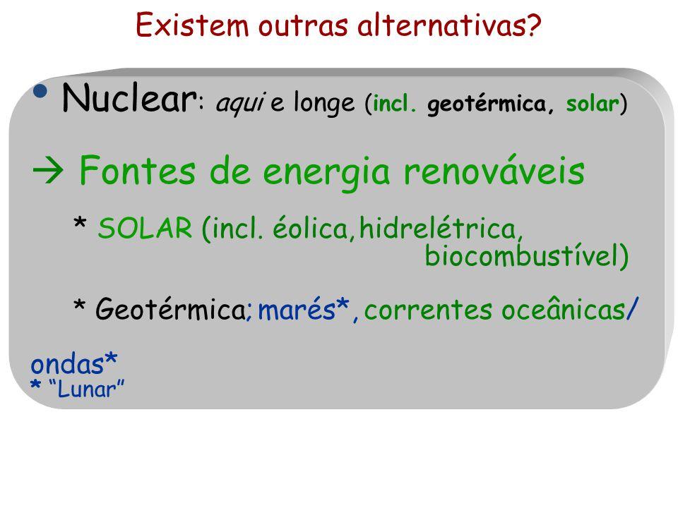 Existem outras alternativas? Nuclear : aqui e longe (incl. geotérmica, solar)  Fontes de energia renováveis * SOLAR (incl. éolica, hidrelétrica, bioc