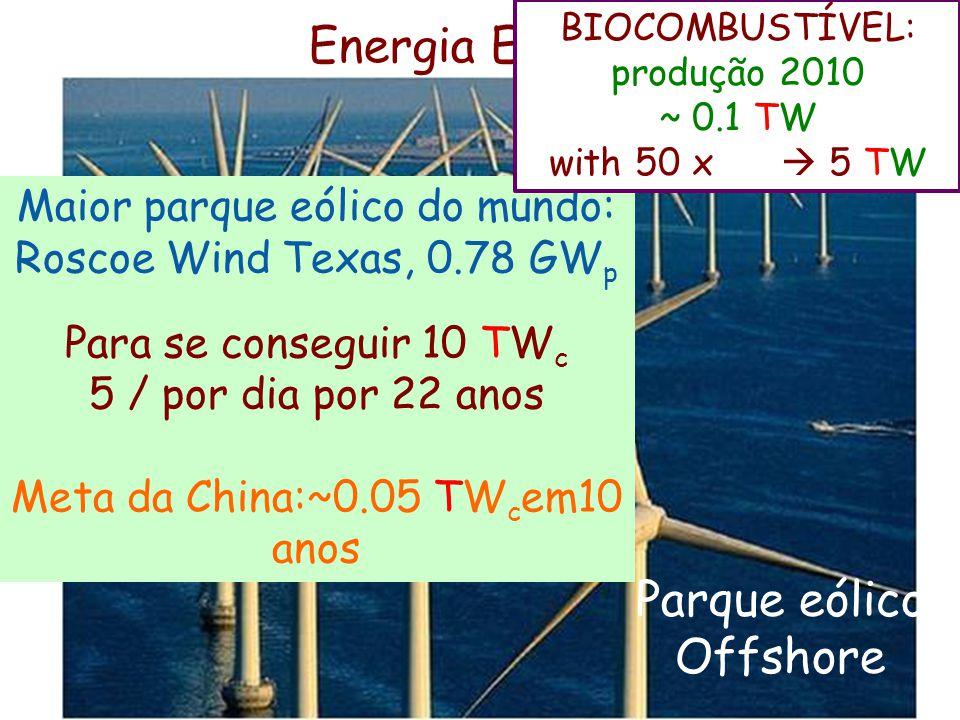Energia Eólica Parque eólico Offshore EÓLICA ACUMULADA 10/11 ~ 0.24 TW p ~ 0.08 TW c Maior parque eólico do mundo: Roscoe Wind Texas, 0.78 GW p Para s