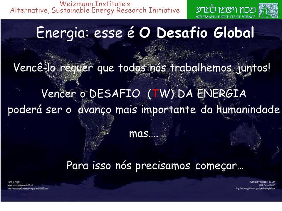Weizmann Institute's Alternative, Sustainable Energy Research Initiative Energia: esse é O Desafio Global Para isso nós precisamos começar… Vencer o D