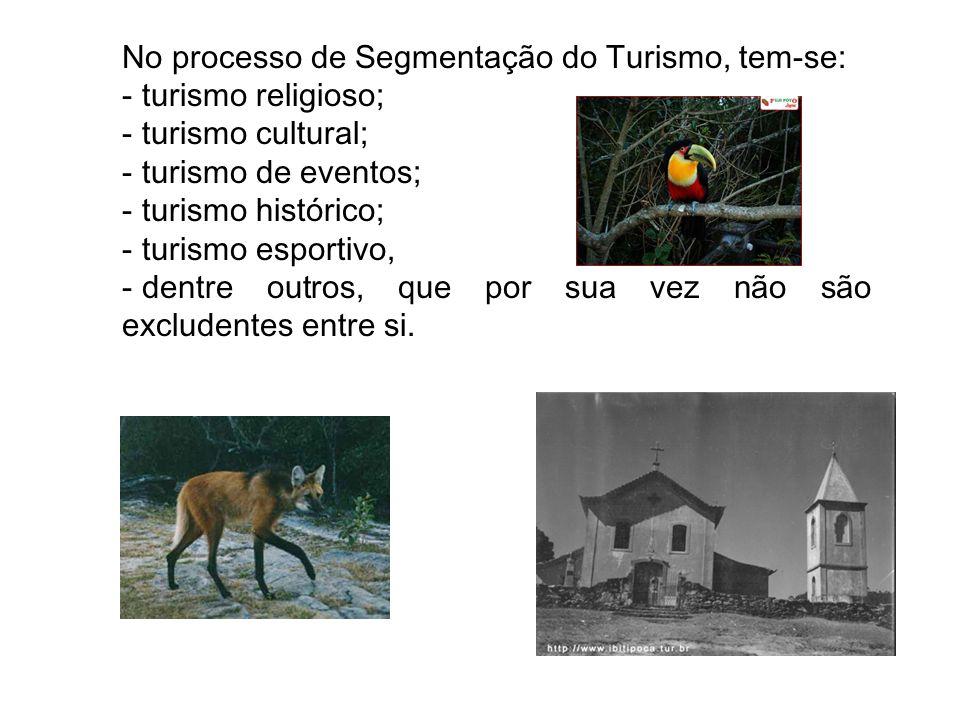 No processo de Segmentação do Turismo, tem-se: - turismo religioso; - turismo cultural; - turismo de eventos; - turismo histórico; - turismo esportivo