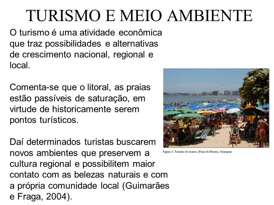 TURISMO E MEIO AMBIENTE O turismo é uma atividade econômica que traz possibilidades e alternativas de crescimento nacional, regional e local. Comenta-