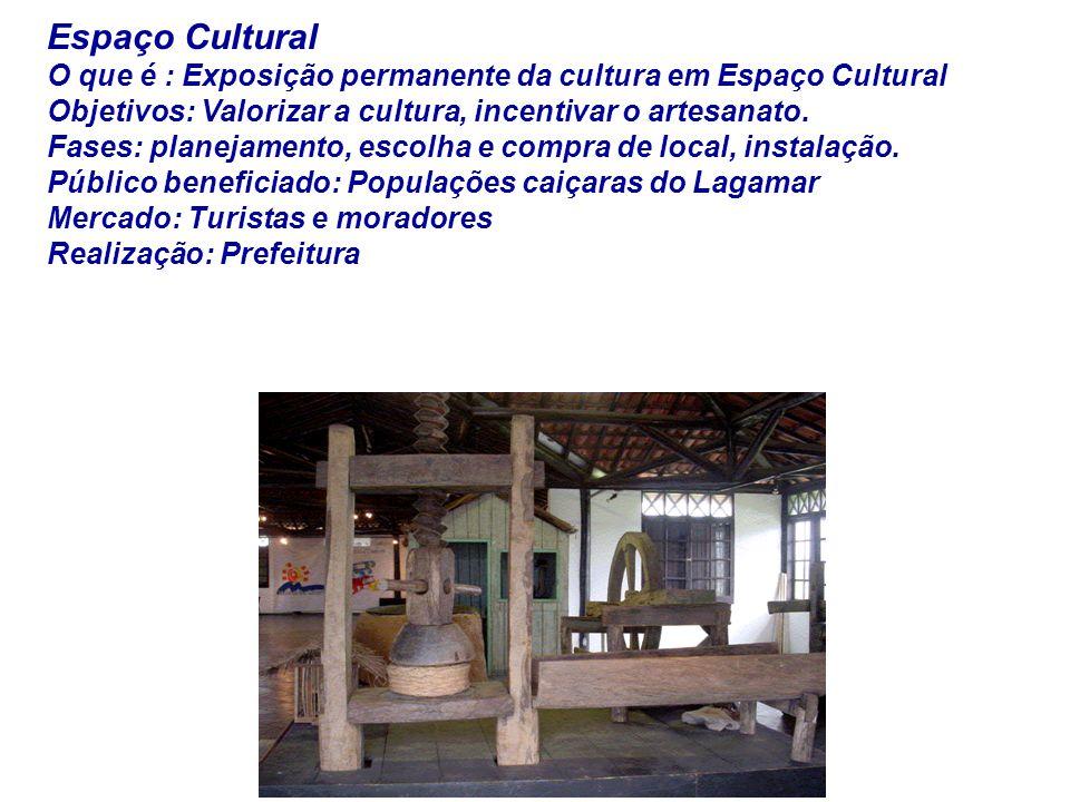 Espaço Cultural O que é : Exposição permanente da cultura em Espaço Cultural Objetivos: Valorizar a cultura, incentivar o artesanato. Fases: planejame