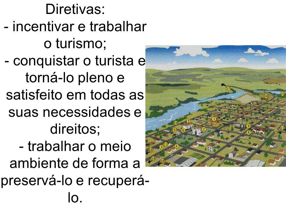 Diretivas: - incentivar e trabalhar o turismo; - conquistar o turista e torná-lo pleno e satisfeito em todas as suas necessidades e direitos; - trabal