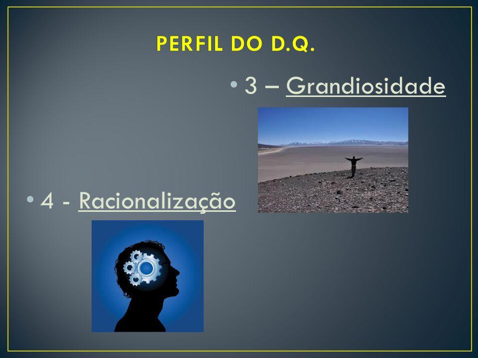 3 – Grandiosidade 4 - Racionalização