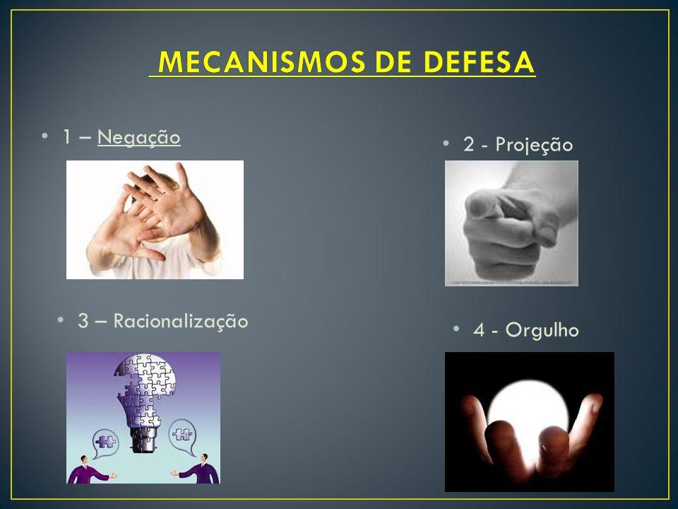1 – Negação 2 - Projeção 3 – Racionalização 4 - Orgulho