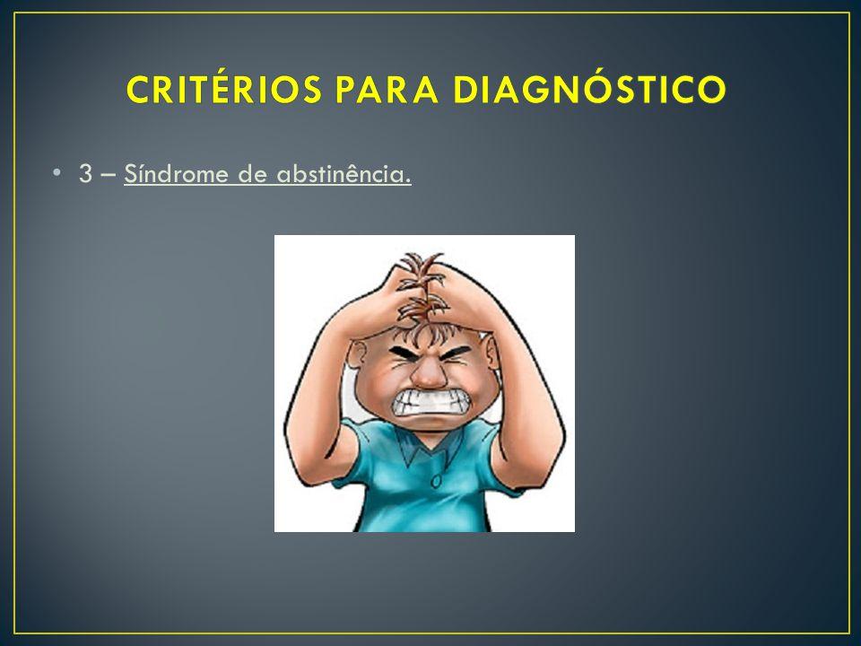 3 – Síndrome de abstinência.