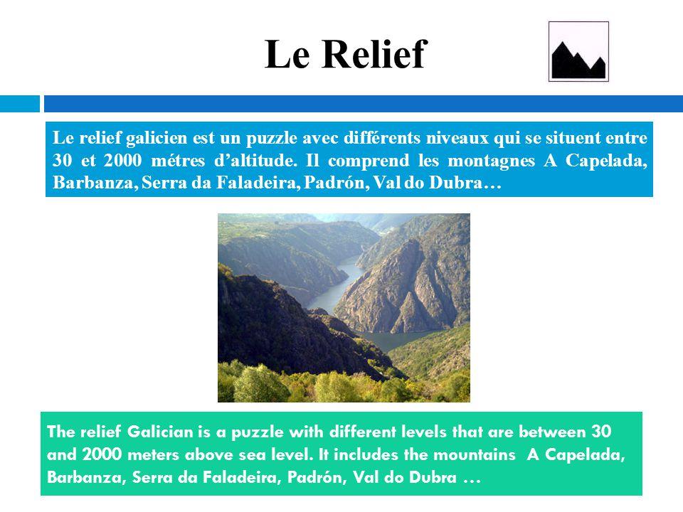 Le Relief Le relief galicien est un puzzle avec différents niveaux qui se situent entre 30 et 2000 métres d'altitude. Il comprend les montagnes A Cape