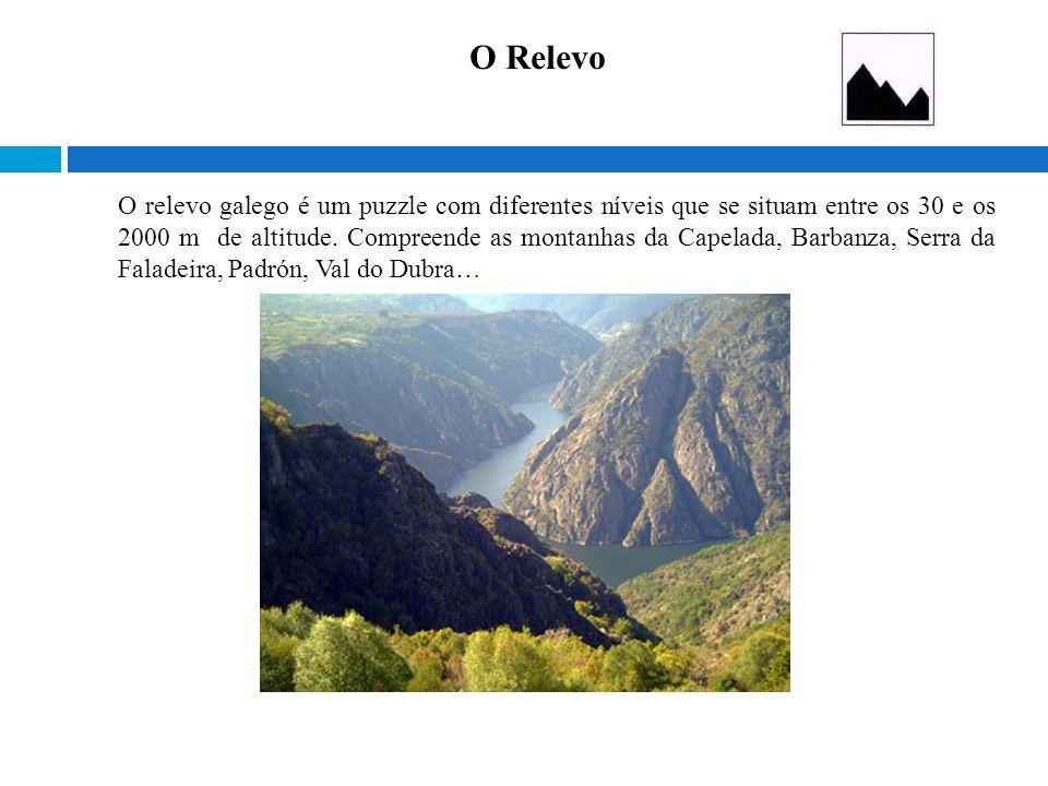 O relevo galego é um puzzle com diferentes níveis que se situam entre os 30 e os 2000 m de altitude. Compreende as montanhas da Capelada, Barbanza, Se