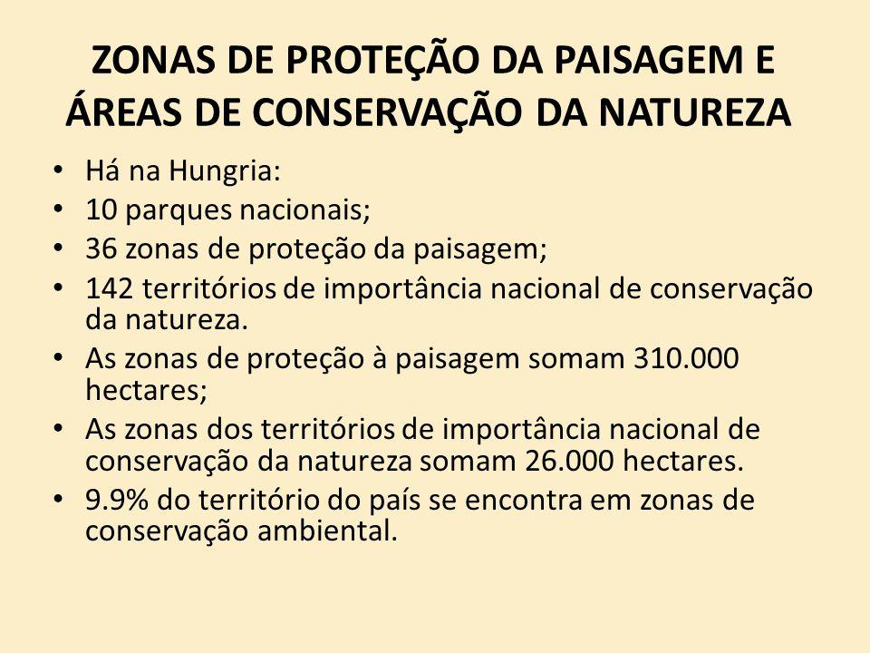 ZONAS DE PROTEÇÃO DA PAISAGEM E ÁREAS DE CONSERVAÇÃO DA NATUREZA Há na Hungria: 10 parques nacionais; 36 zonas de proteção da paisagem; 142 território