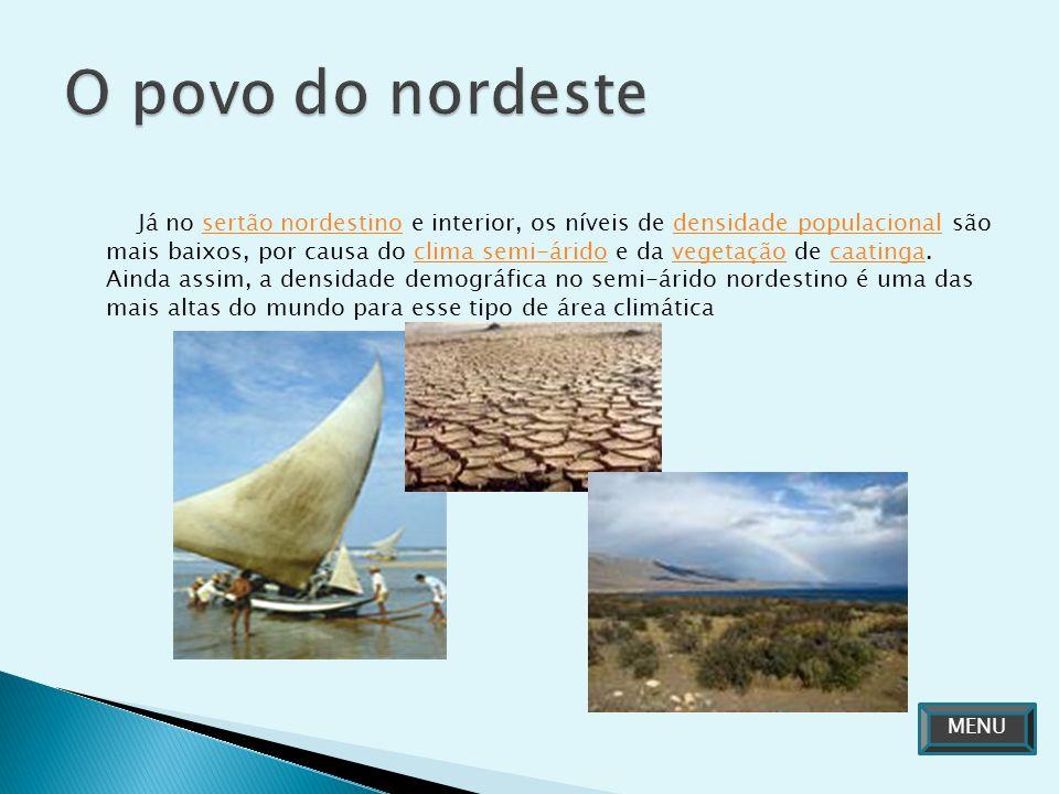 Já no sertão nordestino e interior, os níveis de densidade populacional são mais baixos, por causa do clima semi-árido e da vegetação de caatinga. Ain