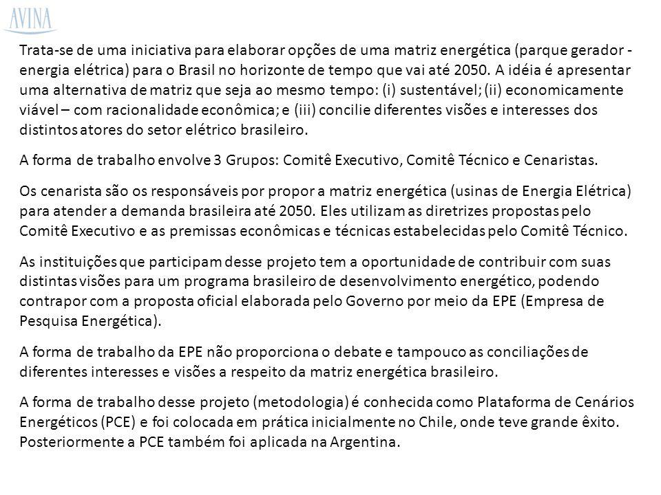 Trata-se de uma iniciativa para elaborar opções de uma matriz energética (parque gerador - energia elétrica) para o Brasil no horizonte de tempo que vai até 2050.