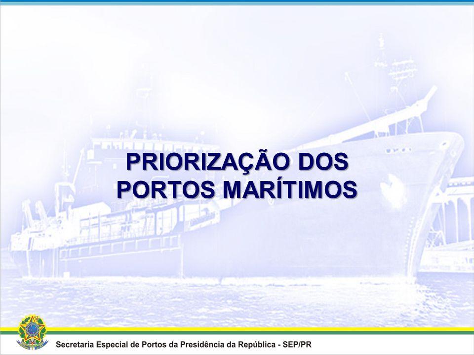 HIERARQUIZAÇÃO DOS PORTOS MARÍTIMOS Resultado 1Santos - SP 2Rio Grande - RS 3Paranaguá - PR 4Vitória - ES 5Itaguaí - RJ 6Itaqui - MA 7Rio de Janeiro -