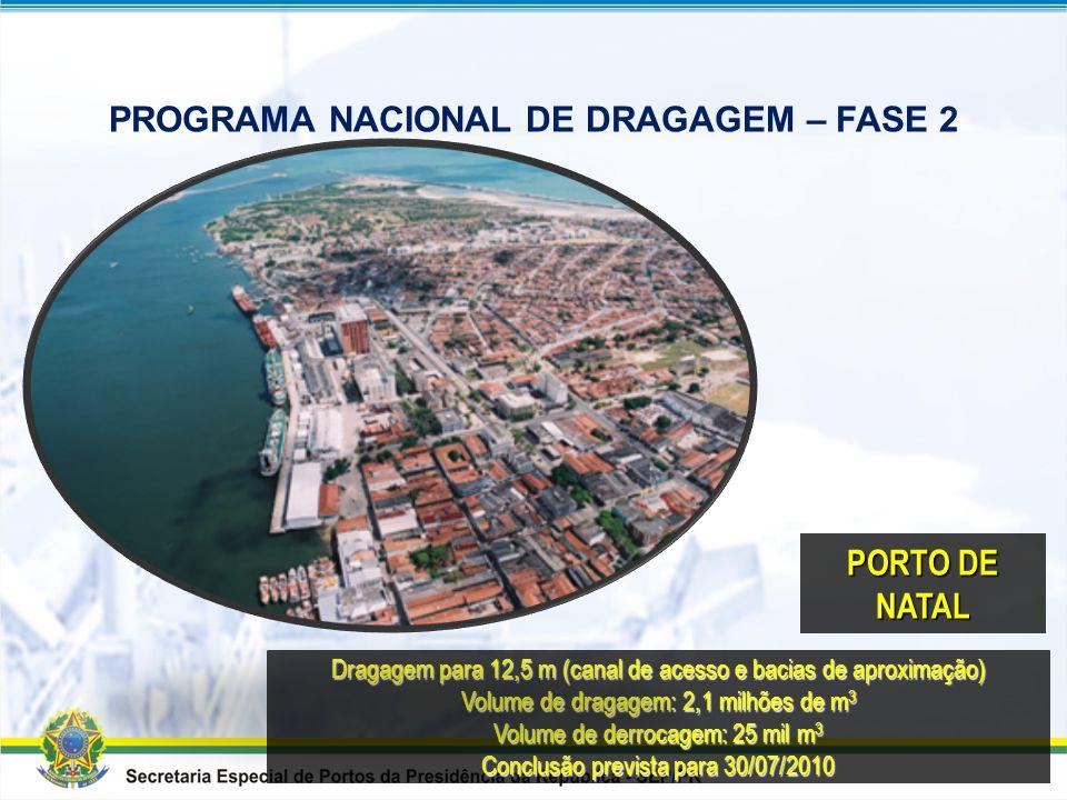 Dragagem dos acessos aquaviários para 14 m Volume de dragagem: 5,9 milhões de m 3 Conclusão prevista para 28/11/2011 PORTO DE FORTALEZA PROGRAMA NACIO