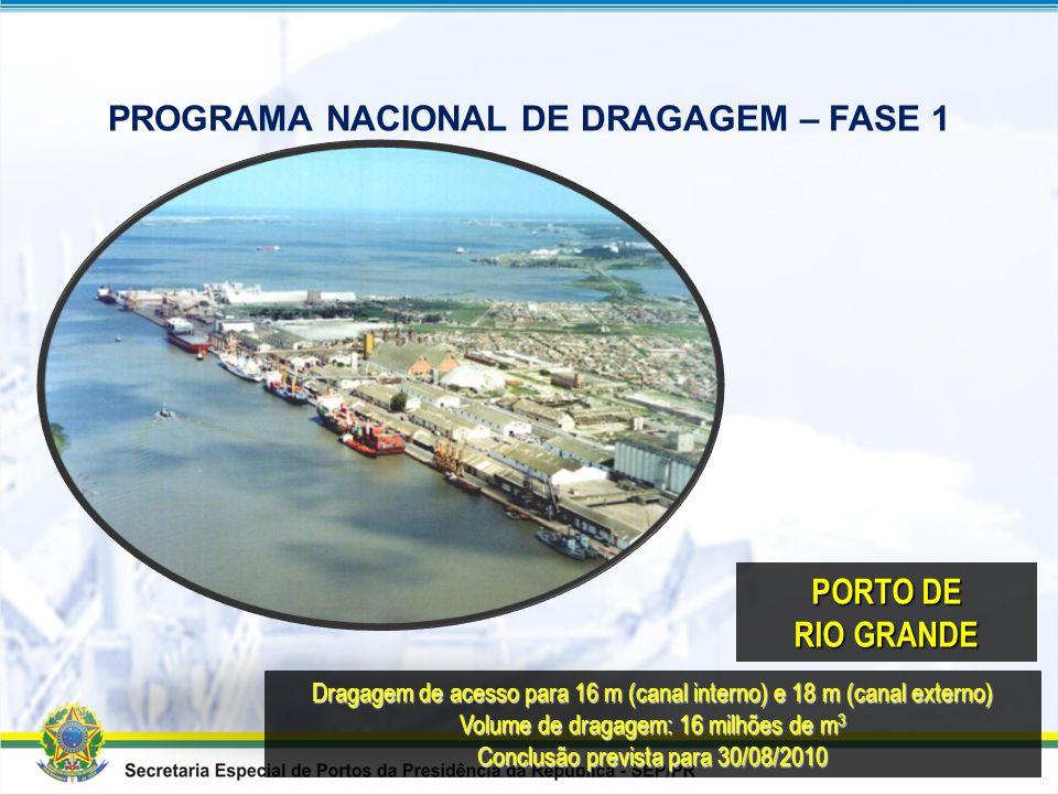 Dragagem do canal de acesso para 14 m Volume de dragagem: 3,2 milhões de m 3 Volume de derrocagem: 72 mil m 3 Conclusão prevista para 30/08/2011 PORTO