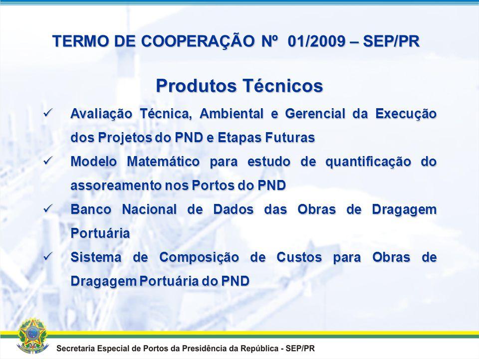 TERMO DE COOPERAÇÃO Nº 01/2009 – SEP/PR Cooperação técnico- científica e financeira entre a SECRETARIA ESPECIAL DE PORTOS DA PRESIDÊNCIA DA REPÚBLICA