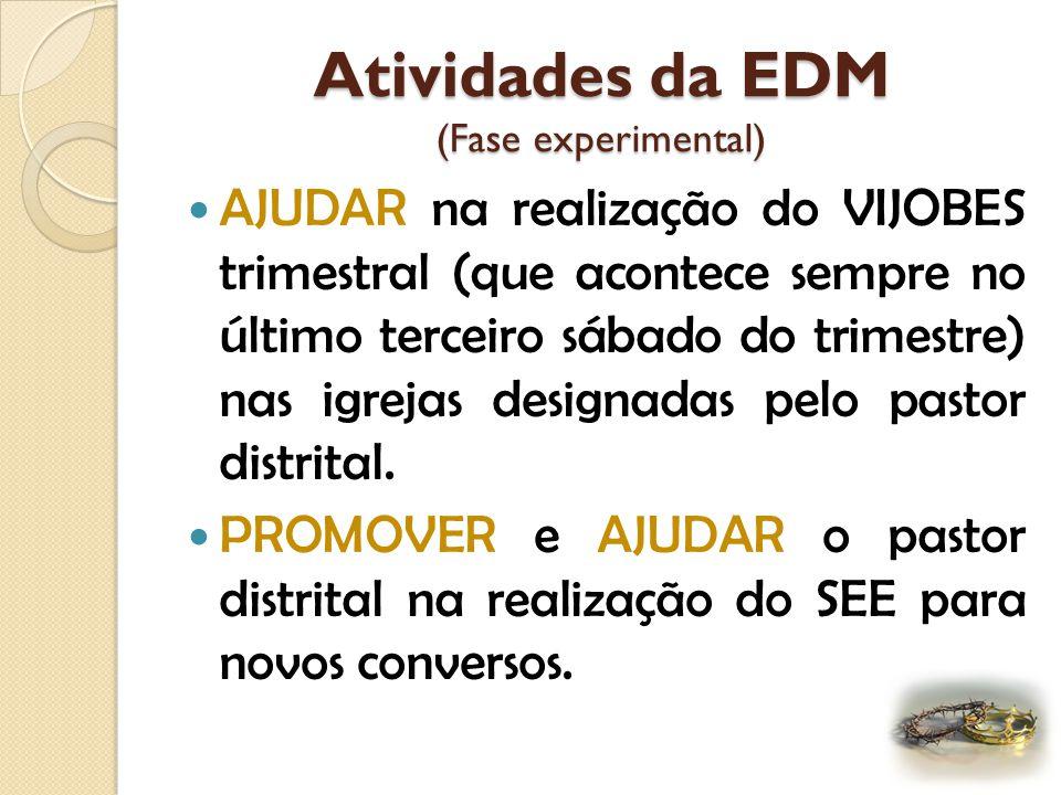 Atividades da EDM (Fase experimental) REALIZAR o Programa do Terceiro Sábado em cada Igreja do distrito, conforme prioridades previamente definidas so