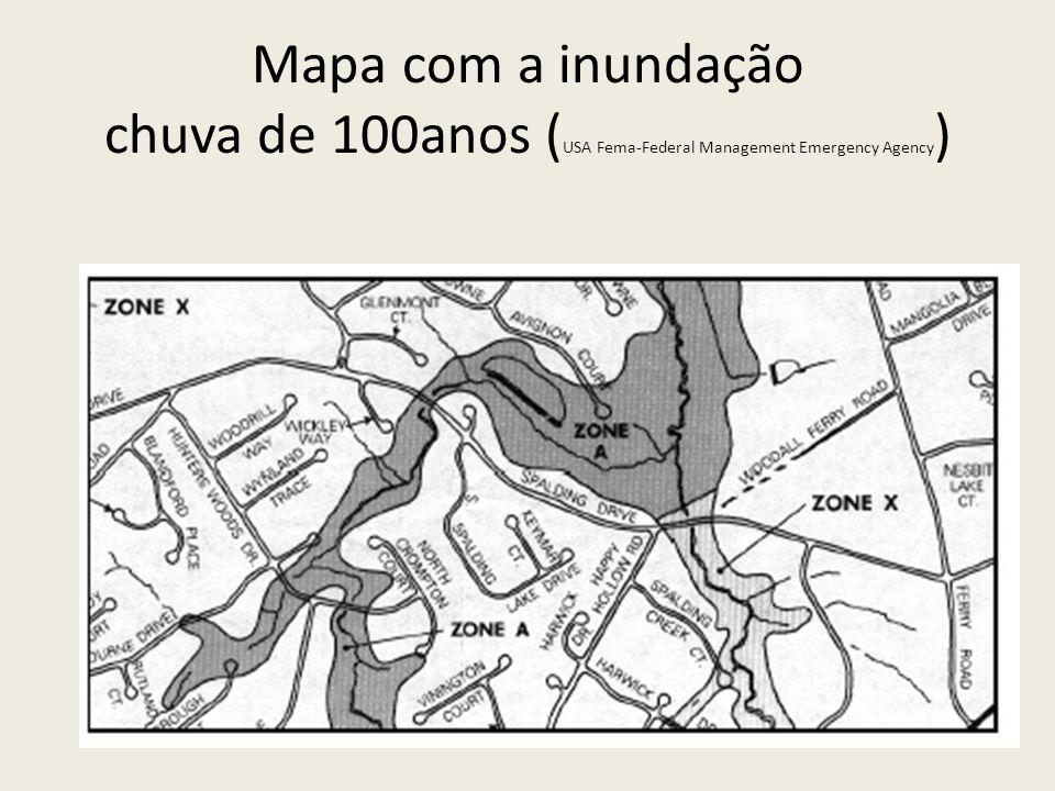 Mapa com a inundação chuva de 100anos ( USA Fema-Federal Management Emergency Agency )