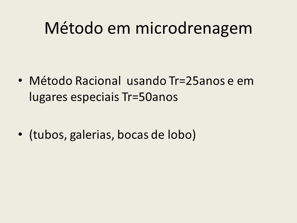Método em microdrenagem Método Racional usando Tr=25anos e em lugares especiais Tr=50anos (tubos, galerias, bocas de lobo)