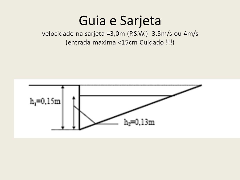 Guia e Sarjeta velocidade na sarjeta =3,0m (P.S.W.) 3,5m/s ou 4m/s (entrada máxima <15cm Cuidado !!!)