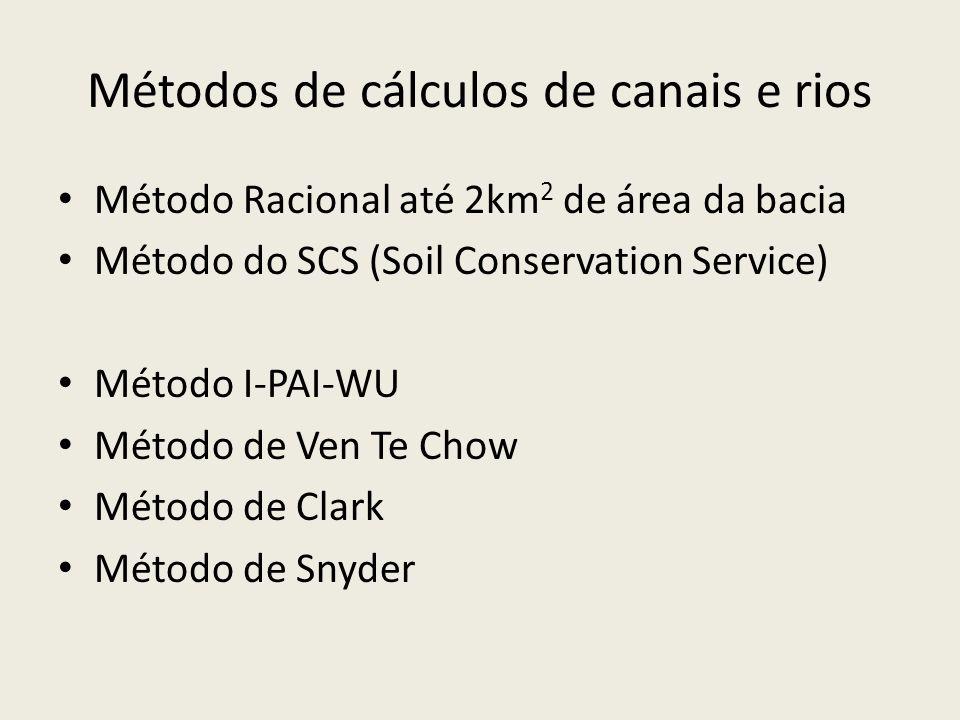Métodos de cálculos de canais e rios Método Racional até 2km 2 de área da bacia Método do SCS (Soil Conservation Service) Método I-PAI-WU Método de Ven Te Chow Método de Clark Método de Snyder
