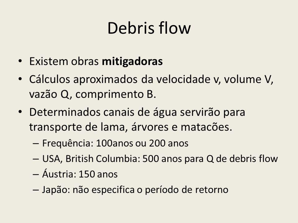 Debris flow Existem obras mitigadoras Cálculos aproximados da velocidade v, volume V, vazão Q, comprimento B.