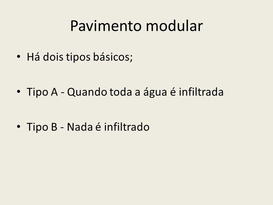 Pavimento modular Há dois tipos básicos; Tipo A - Quando toda a água é infiltrada Tipo B - Nada é infiltrado
