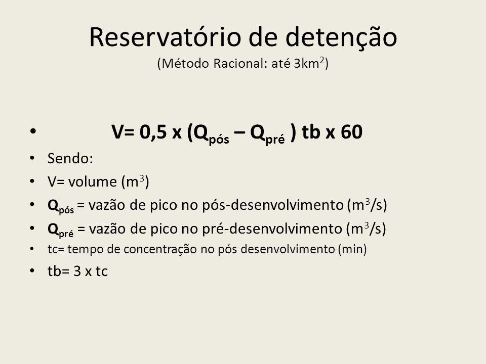 Reservatório de detenção (Método Racional: até 3km 2 ) V= 0,5 x (Q pós – Q pré ) tb x 60 Sendo: V= volume (m 3 ) Q pós = vazão de pico no pós-desenvolvimento (m 3 /s) Q pré = vazão de pico no pré-desenvolvimento (m 3 /s) tc= tempo de concentração no pós desenvolvimento (min) tb= 3 x tc