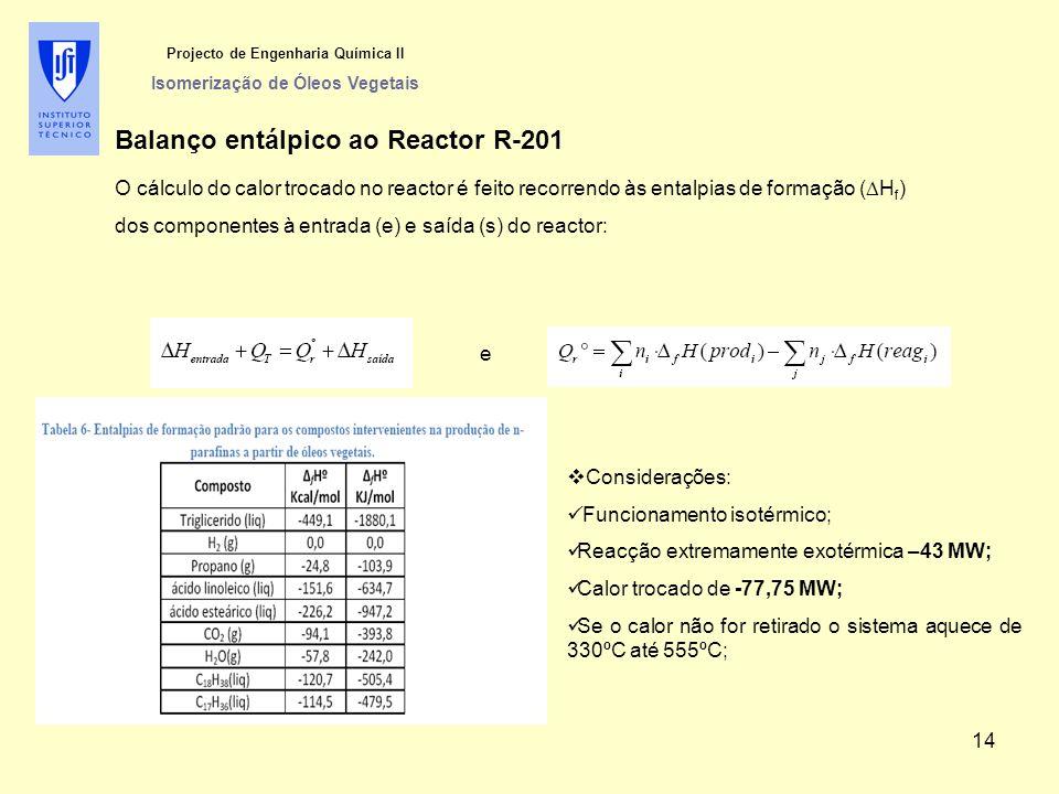Balanço entálpico ao Reactor R-201 O cálculo do calor trocado no reactor é feito recorrendo às entalpias de formação (  H f ) dos componentes à entrada (e) e saída (s) do reactor: Projecto de Engenharia Química II Isomerização de Óleos Vegetais e  Considerações: Funcionamento isotérmico; Reacção extremamente exotérmica –43 MW; Calor trocado de -77,75 MW; Se o calor não for retirado o sistema aquece de 330ºC até 555ºC; 14
