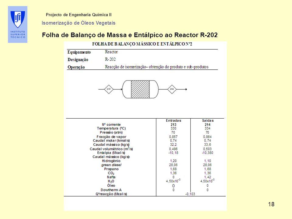 Projecto de Engenharia Química II Isomerização de Óleos Vegetais Folha de Balanço de Massa e Entálpico ao Reactor R-202 18