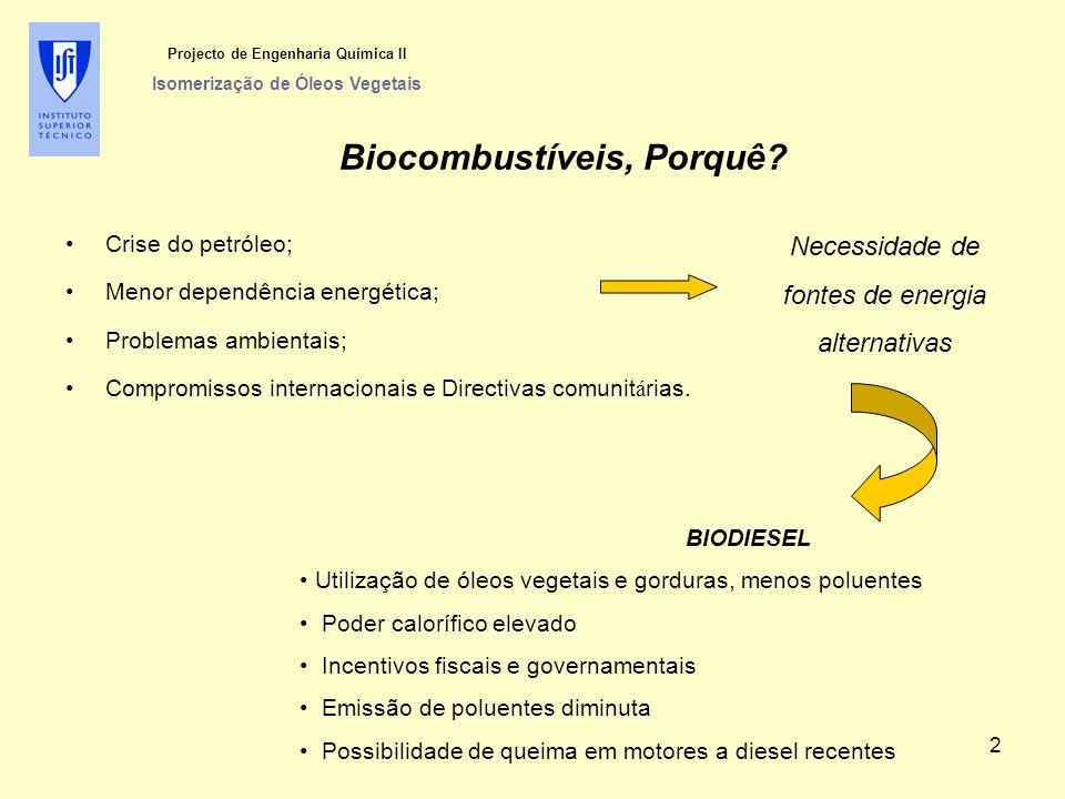Projecto de Engenharia Química II Isomerização de Óleos Vegetais Biocombustíveis, Porquê? Crise do petróleo; Menor dependência energética; Problemas a