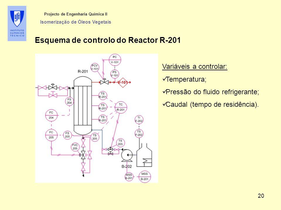 Projecto de Engenharia Química II Isomerização de Óleos Vegetais Esquema de controlo do Reactor R-201 Variáveis a controlar: Temperatura; Pressão do f
