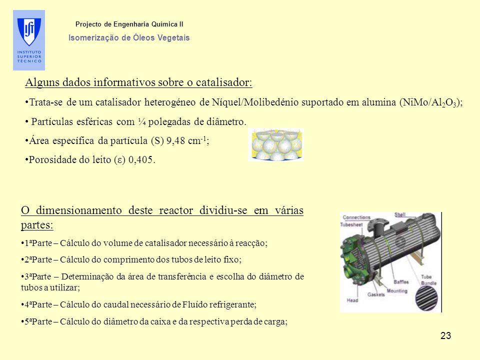 Alguns dados informativos sobre o catalisador: Trata-se de um catalisador heterogéneo de Níquel/Molibedénio suportado em alumina (NiMo/Al 2 O 3 ); Partículas esféricas com ¼ polegadas de diâmetro.