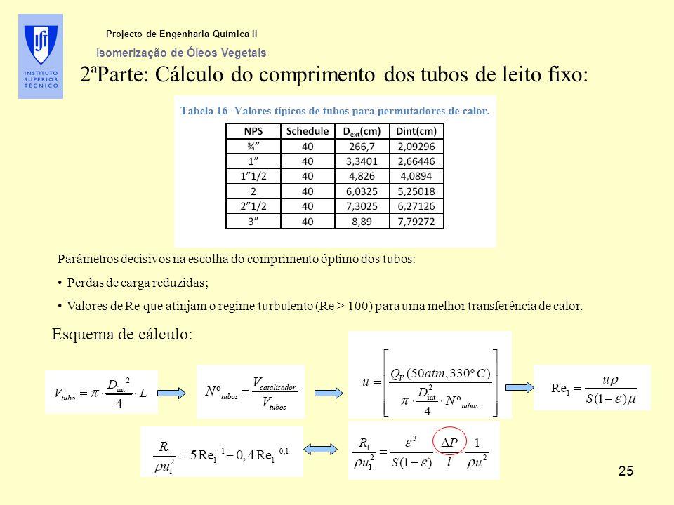 2ªParte: Cálculo do comprimento dos tubos de leito fixo: Parâmetros decisivos na escolha do comprimento óptimo dos tubos: Perdas de carga reduzidas; V