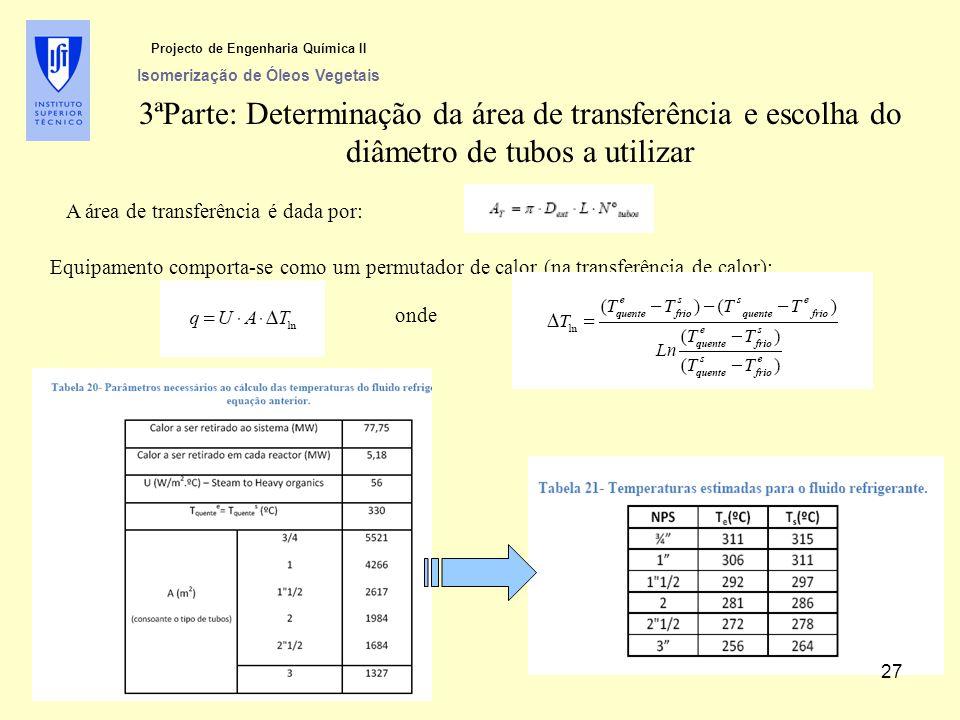 3ªParte: Determinação da área de transferência e escolha do diâmetro de tubos a utilizar A área de transferência é dada por: Equipamento comporta-se c