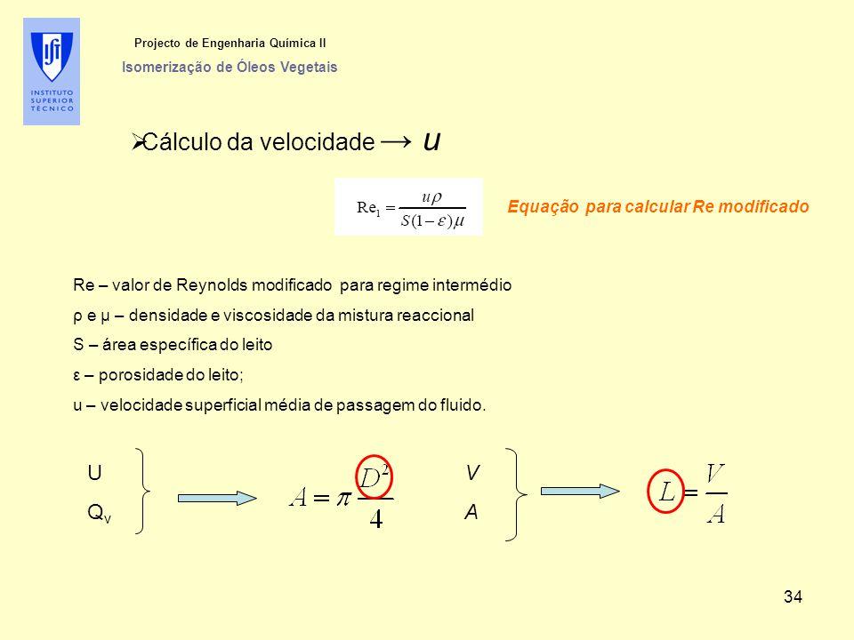  Cálculo da velocidade → u Projecto de Engenharia Química II Isomerização de Óleos Vegetais Equação para calcular Re modificado Re – valor de Reynold