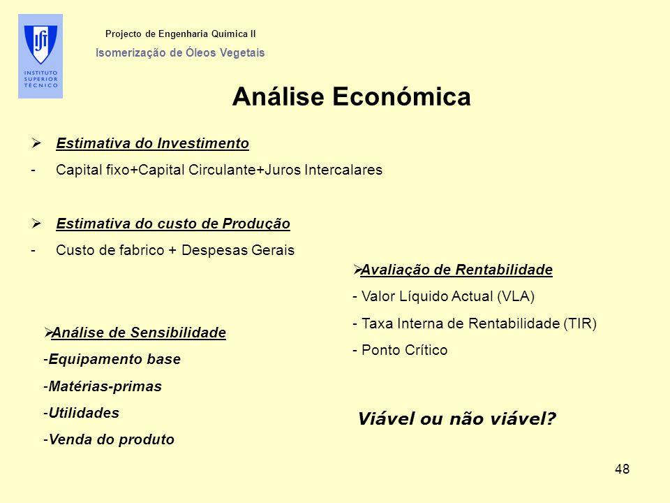 Projecto de Engenharia Química II Isomerização de Óleos Vegetais Análise Económica  Estimativa do Investimento -Capital fixo+Capital Circulante+Juros Intercalares  Estimativa do custo de Produção -Custo de fabrico + Despesas Gerais  Avaliação de Rentabilidade - Valor Líquido Actual (VLA) - Taxa Interna de Rentabilidade (TIR) - Ponto Crítico  Análise de Sensibilidade -Equipamento base -Matérias-primas -Utilidades -Venda do produto Viável ou não viável.