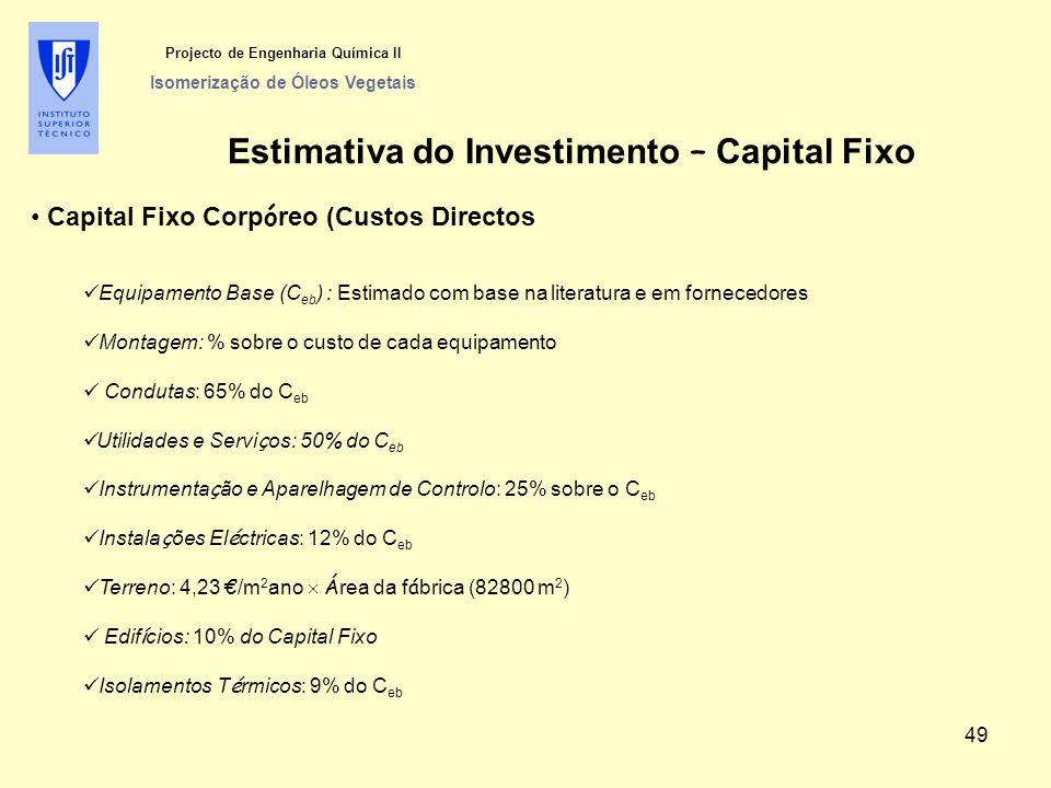 Estimativa do Investimento – Capital Fixo Projecto de Engenharia Química II Isomerização de Óleos Vegetais Capital Fixo Corp ó reo (Custos Directos Eq