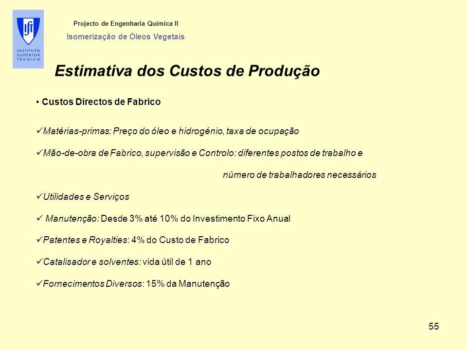 Projecto de Engenharia Química II Isomerização de Óleos Vegetais Estimativa dos Custos de Produção Custos Directos de Fabrico Matérias-primas: Preço d