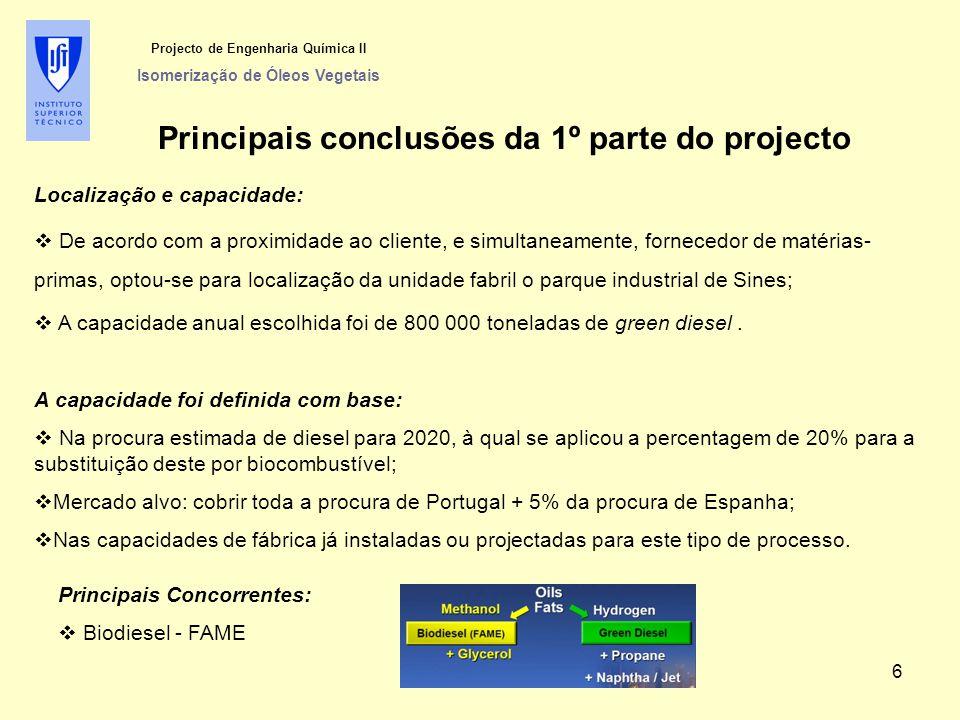 Projecto de Engenharia Química II Isomerização de Óleos Vegetais Principais conclusões da 1º parte do projecto Localização e capacidade:  De acordo c