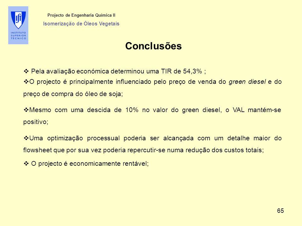 Projecto de Engenharia Química II Isomerização de Óleos Vegetais Conclusões  Pela avaliação económica determinou uma TIR de 54,3% ;  O projecto é pr