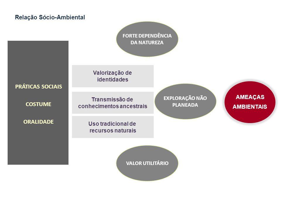 Valorização de identidades Transmissão de conhecimentos ancestrais Uso tradicional de recursos naturais PRÁTICAS SOCIAIS COSTUME ORALIDADE AMEAÇAS AMB