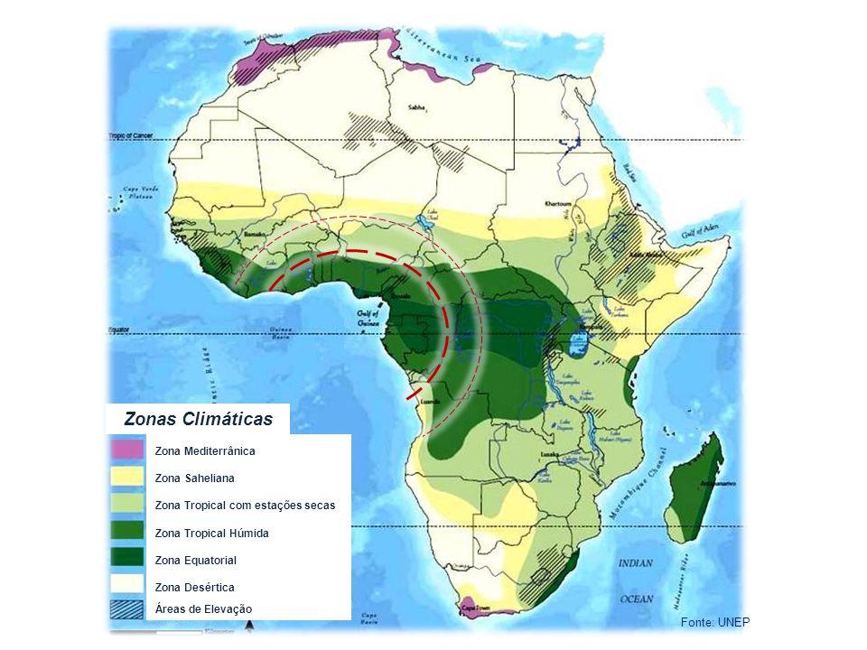 Zonas Climáticas Zona Mediterrânica Zona Saheliana Zona Tropical com estações secas Zona Tropical Húmida Zona Equatorial Zona Desértica Áreas de Eleva