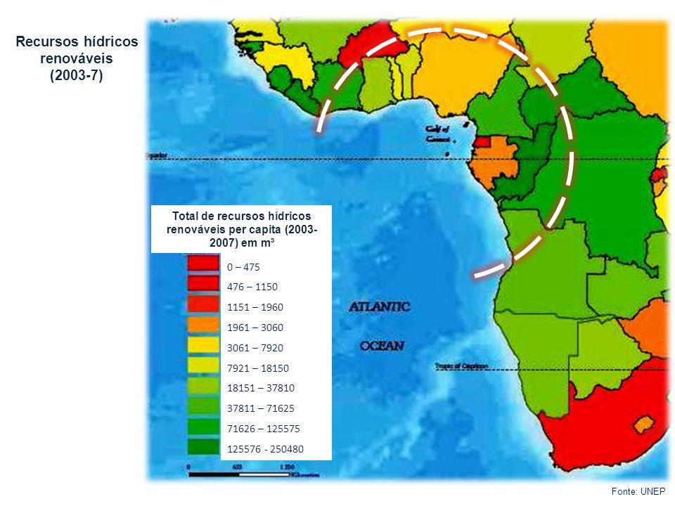 Recursos hídricos renováveis (2003-7) Fonte: UNEP Total de recursos hídricos renováveis per capita (2003- 2007) em m³ 0 – 475 476 – 1150 1151 – 1960 1