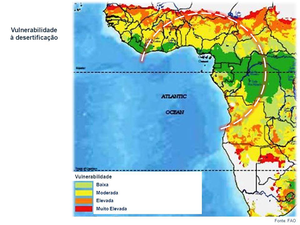 Baixa Moderada Elevada Muito Elevada Vulnerabilidade à desertificação Vulnerabilidade Fonte: FAO